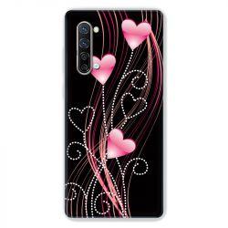 Coque Pour Oppo Find X2 Lite / Reno 3 Coeur Rose Montant sur Noir