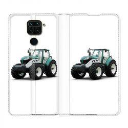 Housse Cuir Portefeuille Pour Xiaomi Redmi Note 9 Agriculture Tracteur Blanc