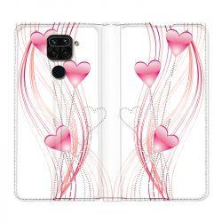 Housse Cuir Portefeuille Pour Xiaomi Redmi Note 9 Coeur Rose Montant sur Blanc