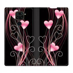 Housse Cuir Portefeuille Pour Xiaomi Redmi Note 9 Coeur Rose Montant sur Noir