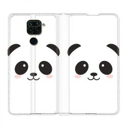 Housse Cuir Portefeuille Pour Xiaomi Redmi Note 9 Panda Blanc