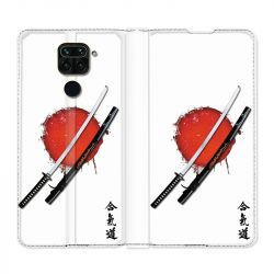 Housse Cuir Portefeuille Pour Xiaomi Redmi Note 9 Japon Epée