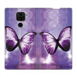 Housse Cuir Portefeuille Pour Xiaomi Redmi Note 9 Papillon Violet et Blanc