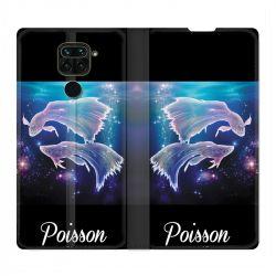 Housse Cuir Portefeuille Pour Xiaomi Redmi Note 9 Signe Zodiaque 2 Poisson