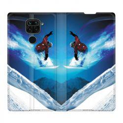 Housse Cuir Portefeuille Pour Xiaomi Redmi Note 9 Snowboard Saut