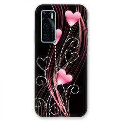 Coque Pour Vivo Y70 Coeur Rose Montant sur Noir