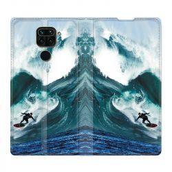Housse Cuir Portefeuille Pour Xiaomi Redmi Note 9 Surf Vague