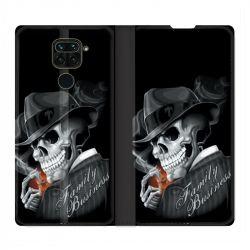 Housse Cuir Portefeuille Pour Xiaomi Redmi Note 9 Tete de Mort family business