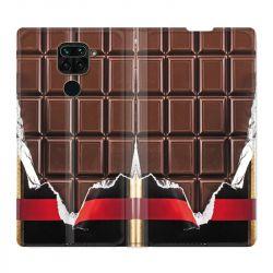 Housse Cuir Portefeuille Pour Xiaomi Redmi Note 9 Trompe Oeil Chocolat