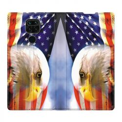 Housse Cuir Portefeuille Pour Xiaomi Redmi Note 9 Amerique USA Aigle