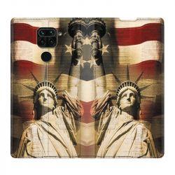 Housse Cuir Portefeuille Pour Xiaomi Redmi Note 9 Amerique USA Statue liberté