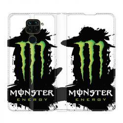 Housse Cuir Portefeuille Pour Xiaomi Redmi Note 9 Monster Energy Tache