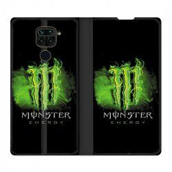 Housse Cuir Portefeuille Pour Xiaomi Redmi Note 9 Monster Energy Vert