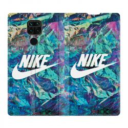 Housse Cuir Portefeuille Pour Xiaomi Redmi Note 9 Nike Turquoise