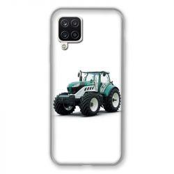 Coque Pour Samsung Galaxy A12 Agriculture Tracteur Blanc