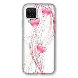 Coque Pour Samsung Galaxy A12 Coeur Rose Montant sur Blanc