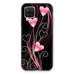 Coque Pour Samsung Galaxy A12 Coeur Rose Montant sur Noir