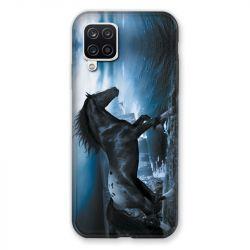 Coque Pour Samsung Galaxy A12 Cheval Noir