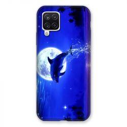 Coque Pour Samsung Galaxy A12 Dauphin Lune