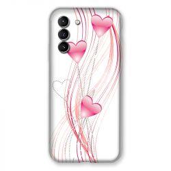 Coque Pour Samsung Galaxy S21 Coeur Rose Montant sur Blanc