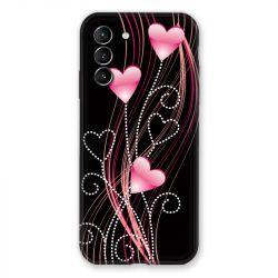 Coque Pour Samsung Galaxy S21 Coeur Rose Montant sur Noir