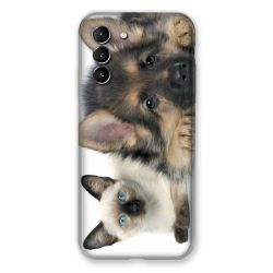 Coque Pour Samsung Galaxy S21 Chien vs Chat