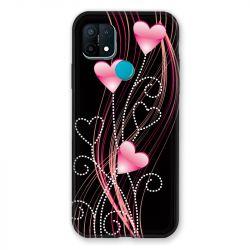 Coque Pour Oppo A15 Coeur Rose Montant sur Noir
