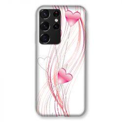 Coque Pour Samsung Galaxy S21 Ultra Coeur Rose Montant sur Blanc
