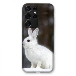 Coque Pour Samsung Galaxy S21 Ultra Lapin Blanc