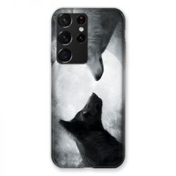 Coque Pour Samsung Galaxy S21 Ultra Loup Duo