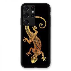 Coque Pour Samsung Galaxy S21 Ultra Animaux Maori Lezard Noir