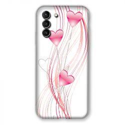 Coque Pour Samsung Galaxy S21 Plus Coeur Rose Montant sur Blanc