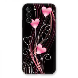 Coque Pour Samsung Galaxy S21 Plus Coeur Rose Montant sur Noir
