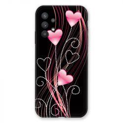 Coque Pour Samsung Galaxy A32 Coeur Rose Montant sur Noir