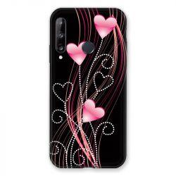 Coque Pour Huawei P40 Lite E Coeur Rose Montant sur Noir