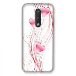Coque Pour Nokia 2.4 Coeur Rose Montant sur Blanc
