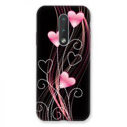 Coque Pour Nokia 2.4 Coeur Rose Montant sur Noir