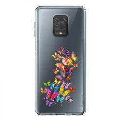 Coque Transparente Pour Xiaomi Redmi Note 9 Papillon Multicolore