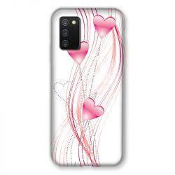 Coque Pour Samsung Galaxy A02S Coeur Rose Montant sur Blanc