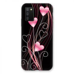 Coque Pour Samsung Galaxy A02S Coeur Rose Montant sur Noir