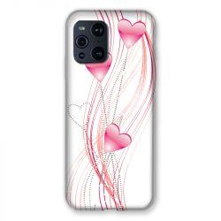 Coque Pour Oppo Find X3 Pro Coeur Rose Montant sur Blanc