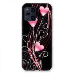 Coque Pour Oppo Find X3 Pro Coeur Rose Montant sur Noir