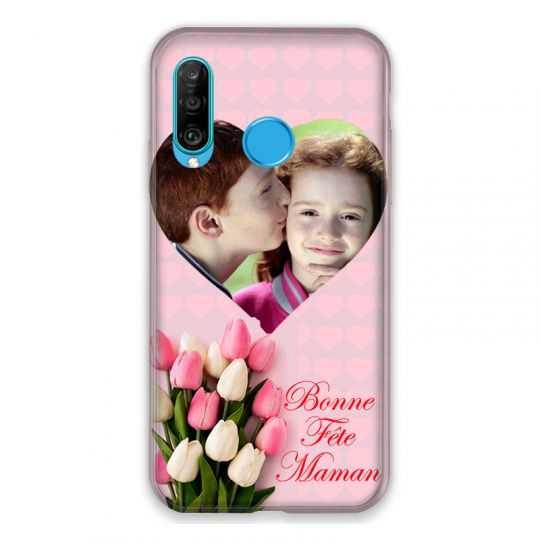 Coque Pour Huawei P30 Lite Personnalisee Fete Des Meres Coeurs Roses