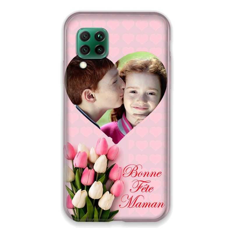 Coque Pour Huawei P40 Lite 4G Personnalisee Fete Des Meres Coeurs Roses