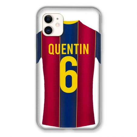 Coque Pour Iphone 11 (6.1) Personnalisee Maillot Football FC Barcelone