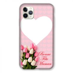 Coque Pour Iphone 11 Pro Max (6,5) Personnalisee Fete Des Meres Coeurs Roses