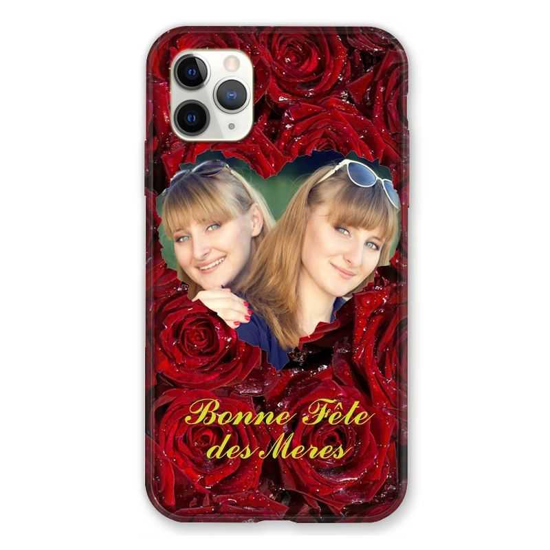 Coque Pour Iphone 11 Pro Max (6,5) Personnalisee Fete Des Meres Roses Rouges