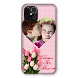 Coque Pour Iphone 12 / 12 Pro (6,1) Personnalisee Fete Des Meres Coeurs Roses