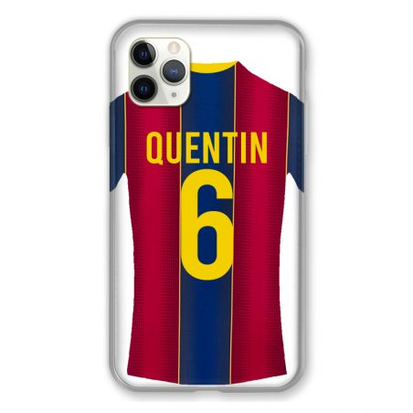 Coque Pour Iphone 11 Pro Max (6,5) Personnalisee Maillot Football FC Barcelone