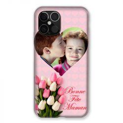 Coque Pour Iphone 12 Pro Max (6.7) Personnalisee Fete Des Meres Coeurs Roses